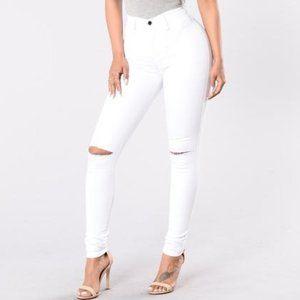 Fashion Nova Canopy Skinny White Jeans